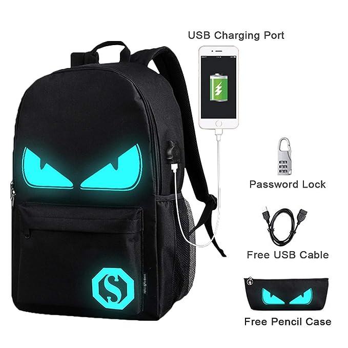 LLFS Luminous Backpack - Mochila infantil Niños-Niñas Black Devil Eye Taille unique: Amazon.es: Ropa y accesorios