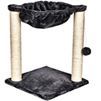 Cat Tree with Scratching Post Hammock Bed and Pet Toy Ball - DarkGrey