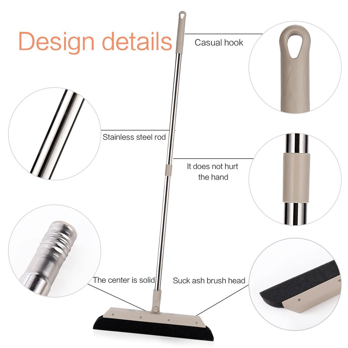 MEIBEI Sponge Broom Dust Cleaner, 37.4'' Adjustable Long Handle with 13.8'' Wide Blade, Perfect for Wood Tile Marble Carpet & Glass by MEIBEI (Image #4)