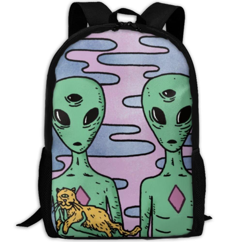 Cool Alienカップル猫interest印刷カスタムユニークカジュアルバックパックスクールバッグ旅行用デイパックギフト   B0791W69FV