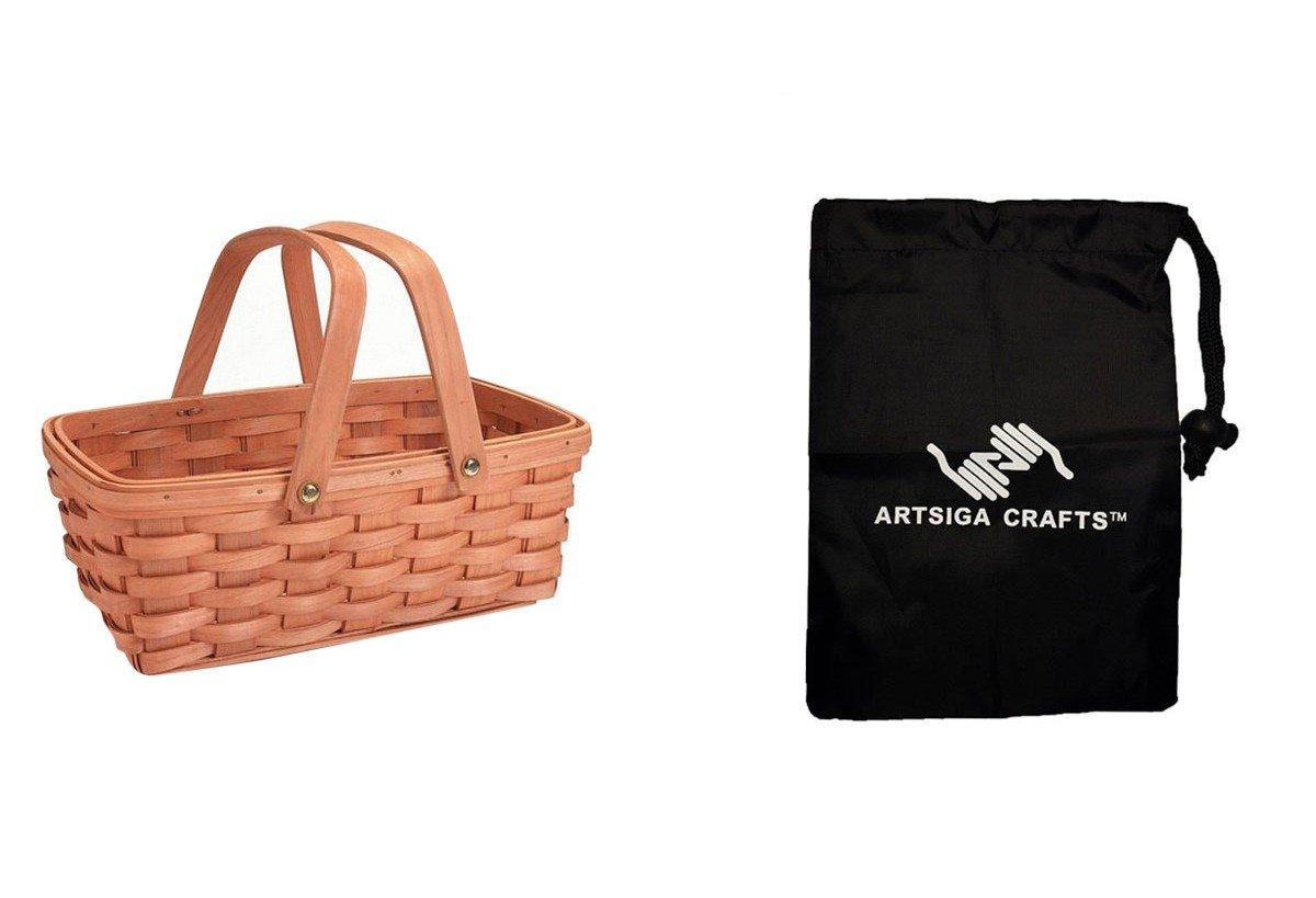 Darice Basket Shelf Wood Country Handle 12.5in. (4 Pack) 2848 20 Bundle with 1 Artsiga Crafts Small Bag