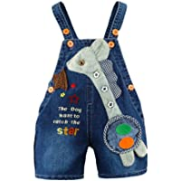 Kidscool Baby Summer Cotton Denim 3D Long Neck Dog Short Overalls