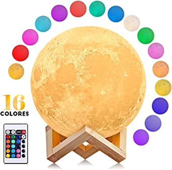 Lampe Lune 3D AGM Lampe Luna 15CM Tactile Veilleuse LED 2 Couleurs USB Rechargeable Moonlight avec Support en Bois pour Enfant Chambre Anniversaire Cadeau No/ël
