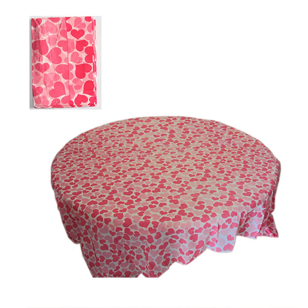 Aspire Premium 70'' Round Plastic Table Cover, Colorful Disposable Table Cloth, Party Favor - Love Heart,96PCS