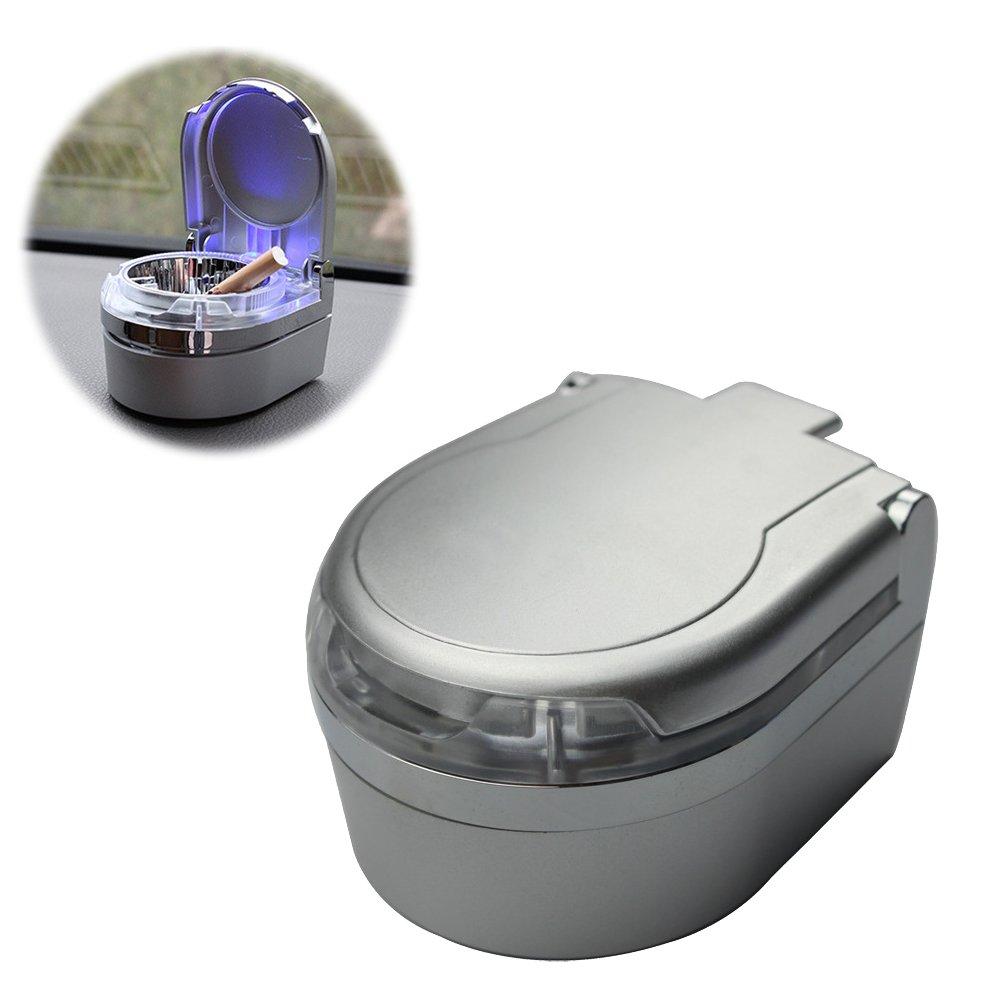 YamaziHD Mini Portable Car Ashtray Blue LED Light for Dashboard Cigar Cigarette (Silver)