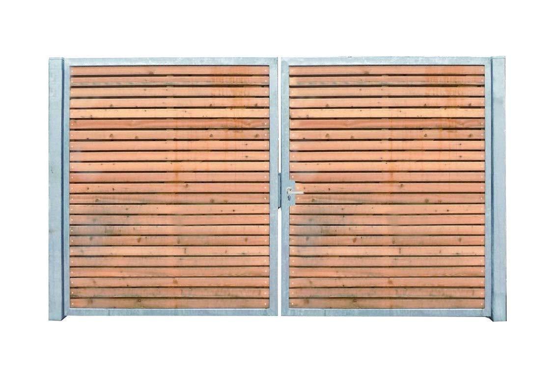 Einfahrtstor Verzinkt Holz Tor quer Symmetrisch 2-flügelig 200cm x 180cm