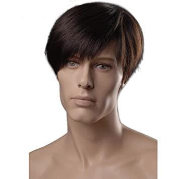 8inch Heat Resistant Synthetic Straight Hairstyles Short Mens Wig ...