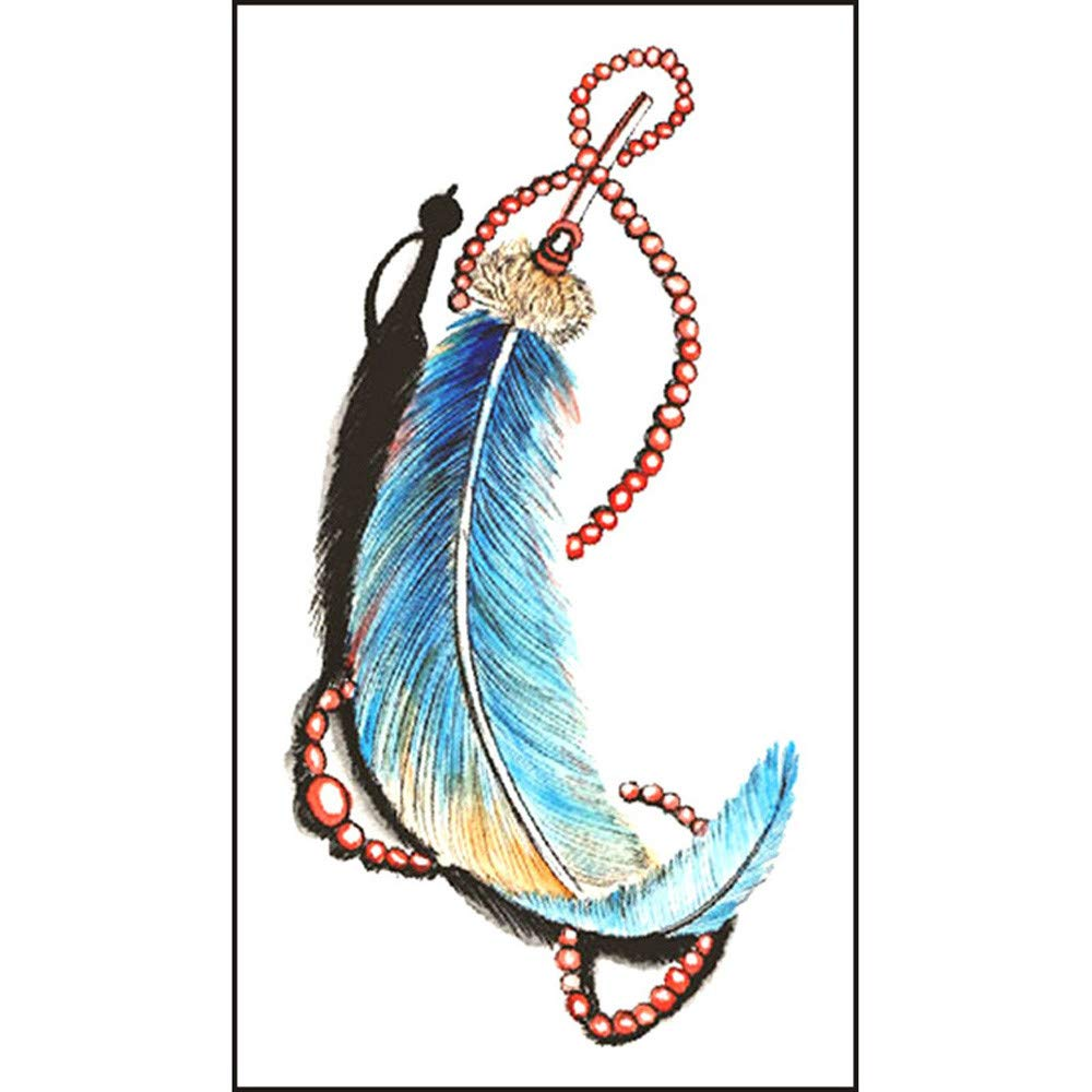5Pcs Feather Temporary Tattoos for Women Girls Realistic Waterproof Tattoos Stickers Removable Non-toxic Body Art Arm 3D Fake Tattoos Men Women Party Favors - Feather Pattern (Multicolor)