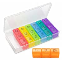 Weekly Pill Organizer(3-Times-A-Day), 7 Day Pill Box, Portable Travel Prescription...