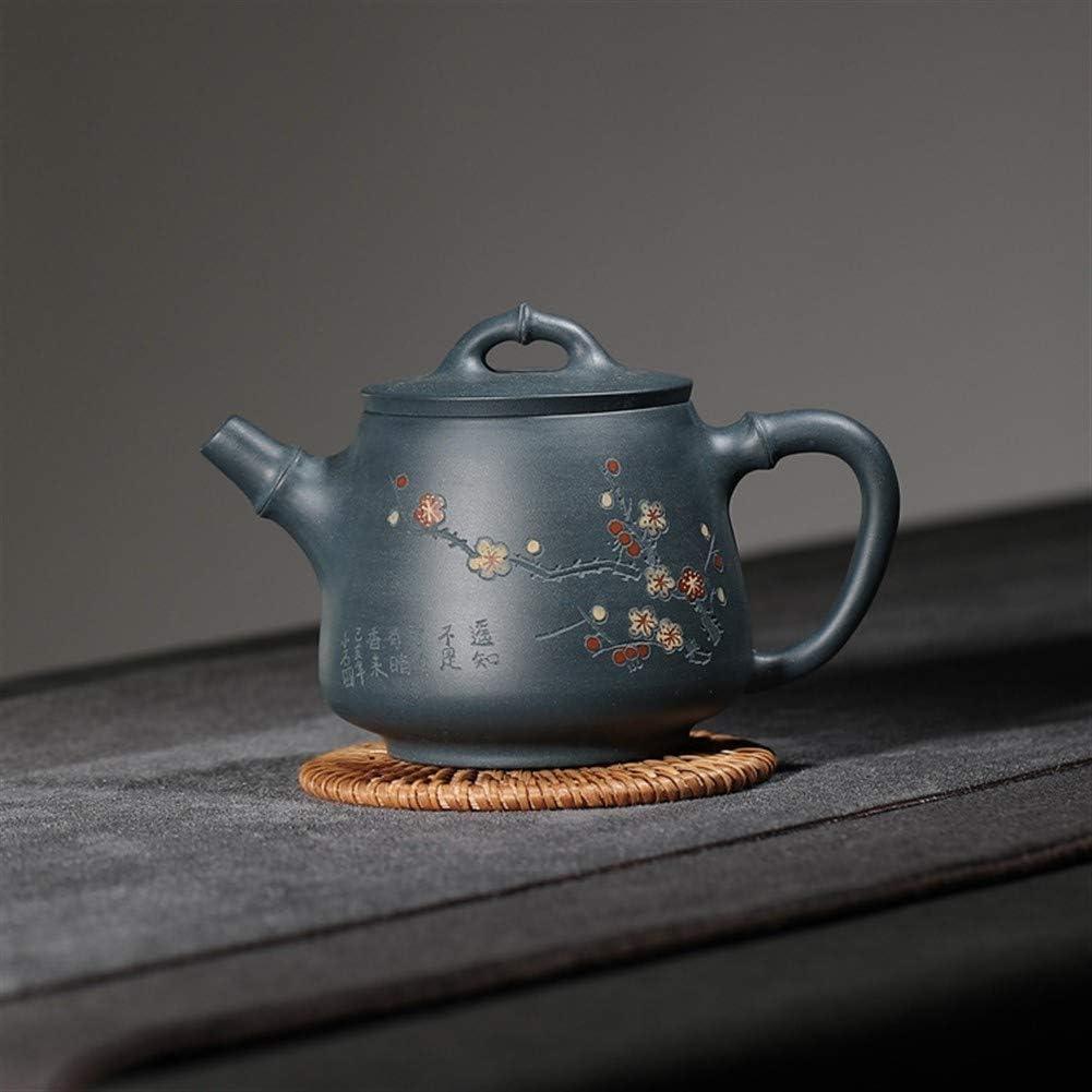 XinQuan Wang 梅の香りを彫刻宜興急須手鉱石明確な国家のグリーンクレイティーポット (Color : Purple mud)