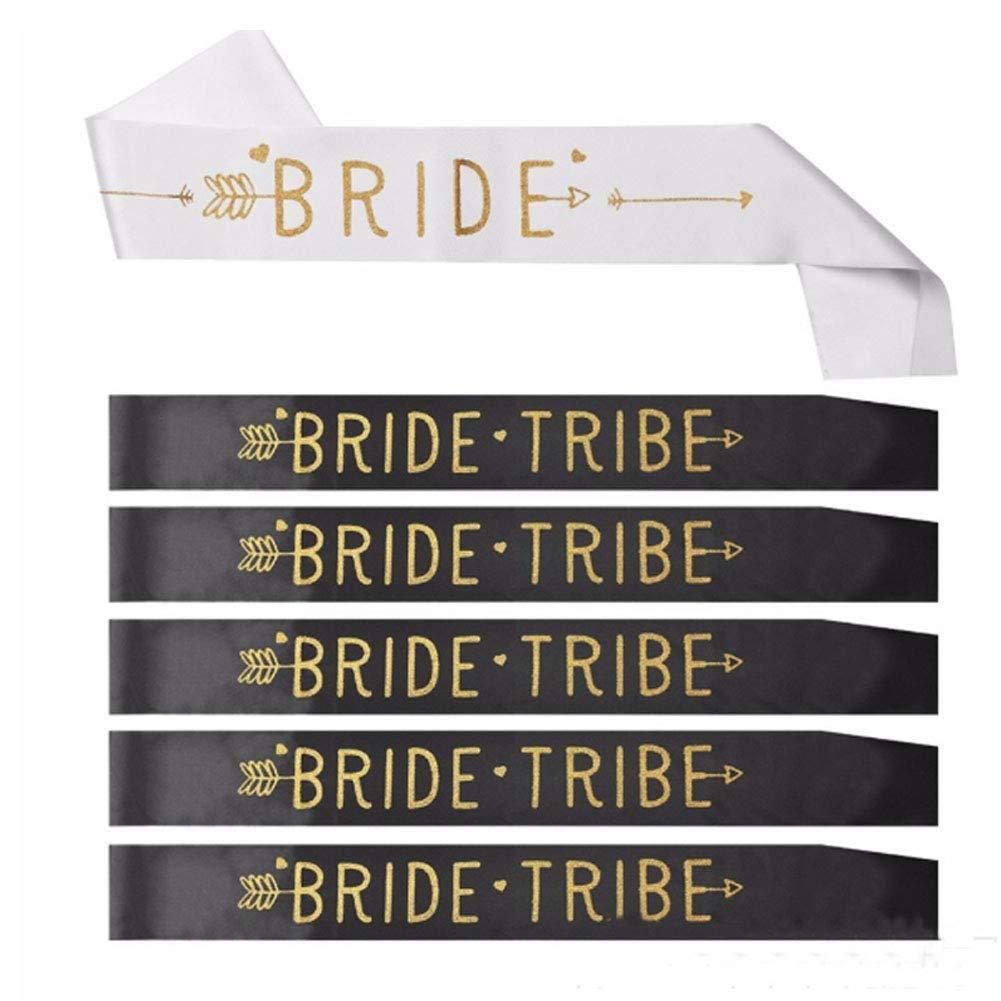 6 Packs Bride Tribe Sashes Set ANBET Hen Party Shoulder Strap Wedding Bridal Shower Banquet Sash Etiquette Belt 61.5/×3.7in
