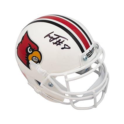 60f37887d Image Unavailable. Image not available for. Color  Lamar Jackson  Autographed Louisville Cardinals Mini Football Helmet - JSA COA