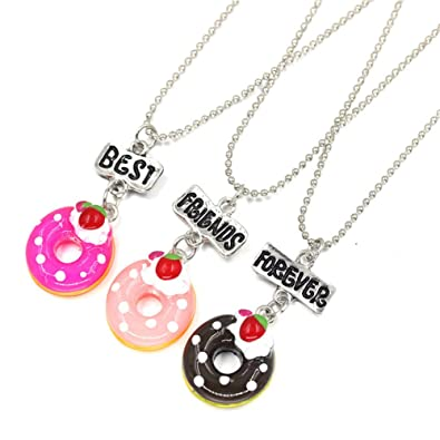 29939cab5abac Amazon.com: SKEINS BFF Food Necklaces for 3 Doughnut Ice Cream Necklace  Kids Necklace (Doughnut Necklace): Jewelry