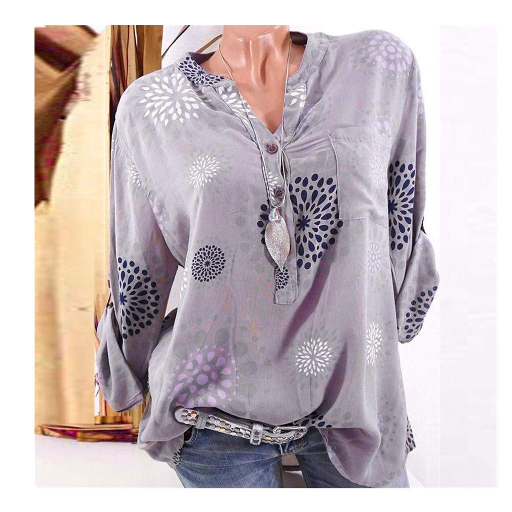 Blouse For Women-Clearance Sale, Farjing Plus Size Three Quarter Sleeve Print V-neck Blouse Pullover Tops Shirt(US18/5XL,Gray)