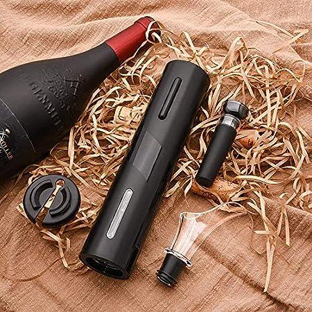 Abridor de vino 4 en 1 Juego, sacacorchos eléctrico Portátil, set sacacorchos electrico, con cortador de papel de aluminio, Tapón de Vino Silicona de Vacío y Vertedor de Vino (A)
