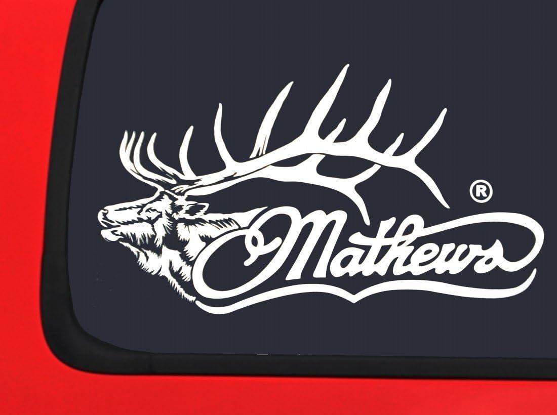 White Hunting window decal sticker Mathews Archery Logo with Arrow