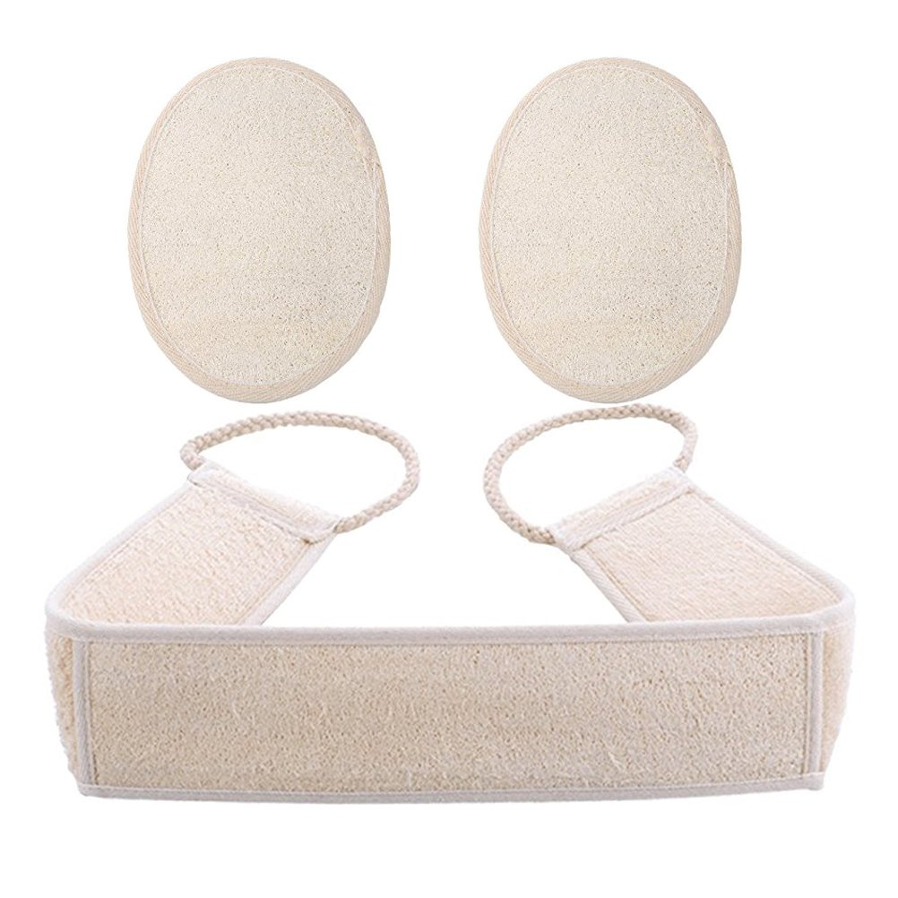 Exfoliating Loofah Back and Body Scrubber Strap for Shower for Men and Women (1 Pack 4 x 32 Inch), Loofah Sponge Pad for Skin Care (2 Pack Large 4x6 Inch)