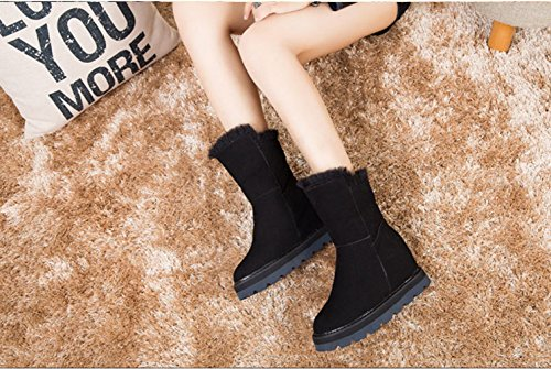 Comfort Ankle Boots Winter Hidden Women's Frestepvie Fur Snow Shorty Boots Black Lined Heel Warm Faux pO7T0qwO