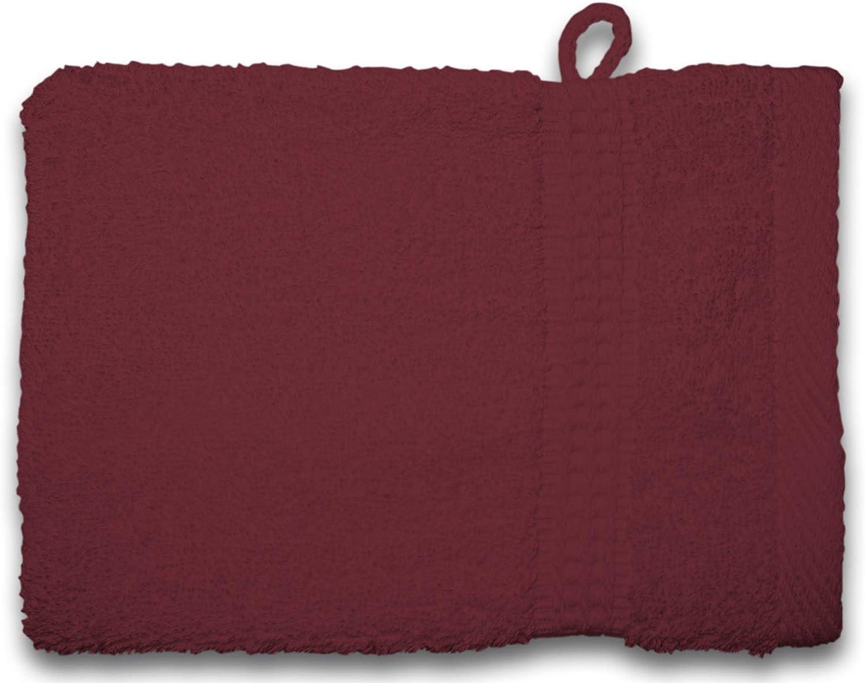 one-home 2er Set Waschhandschuhe Waschlappen Bordeaux weinrot 16x21 cm Frottee Baumwolle