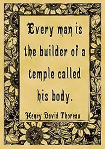 Lámina de 4 Pegatinas de papel fotográfico brillante 7,5 cm x 5 cm (7,62 cm x 5,08 cm) cotización Henry David Thoreau cuerpo