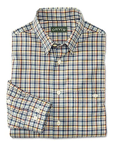 Orvis Men's Hidden-Button-Down Wrinkle-Free Cotton Twill Shirt/Tall, Blue/Melon, Large -