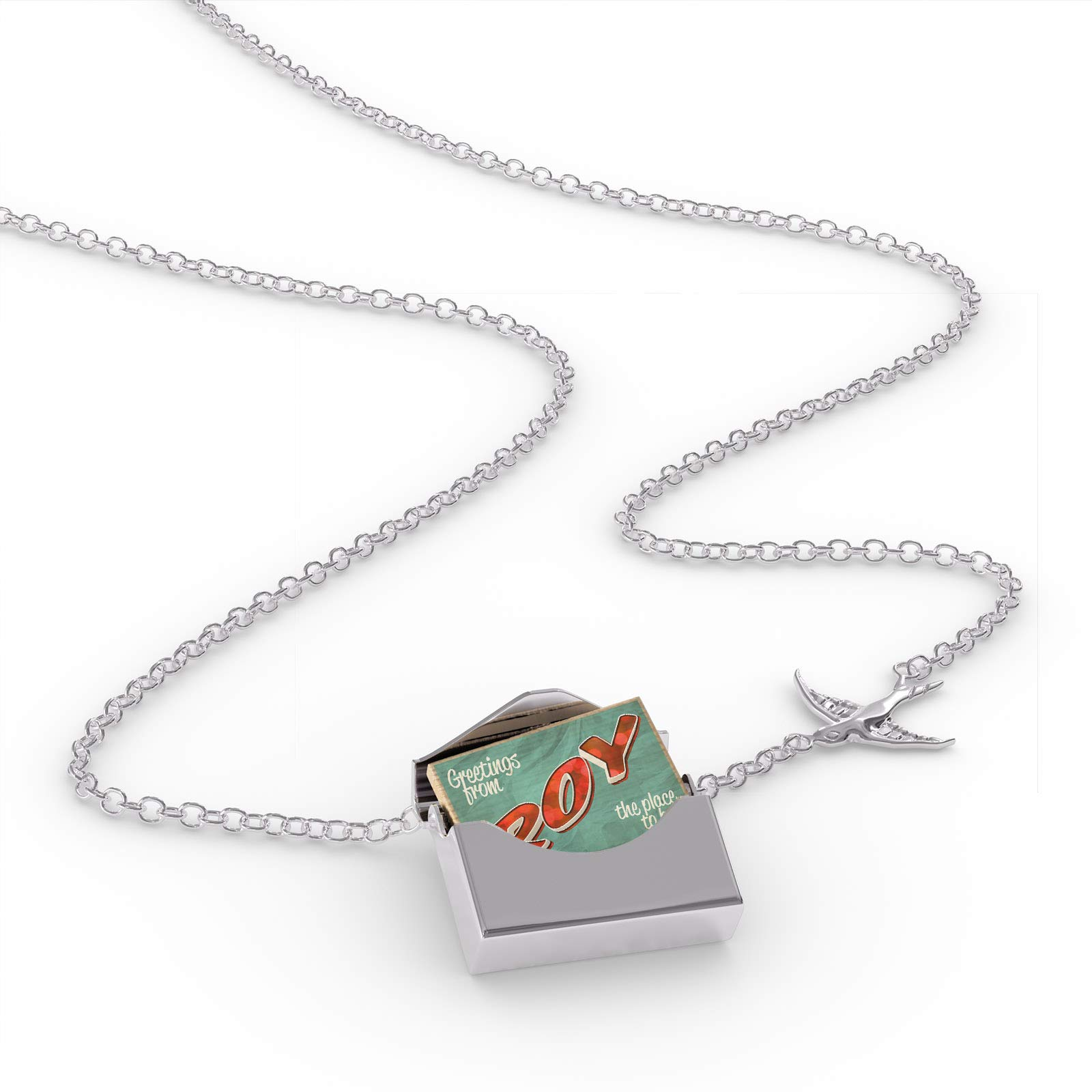 NEONBLOND Locket Necklace Greetings from Roy, Vintage Postcard in a Silver Envelope