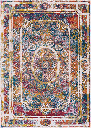 Expressions Fleur Modern Oriental Medallion 8 x 10 (7'10'' x 10'6