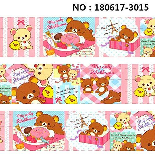 - Jammas 10yards -Different Sizes -Japanese Cartoon Bear Ribbon Printed Grosgrain Ribbon 3012 - (Color: 180617-3015, Size: 38mm Satin)