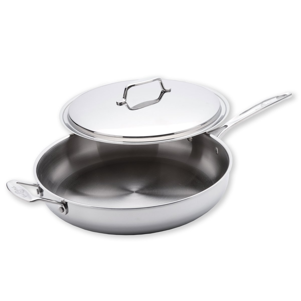 USA Pan Cookware 5-Ply Stainless Steel 13 Inch Gourmet Chef Skillet With Cover, Oven and Dishwasher Safe, Made in the USA
