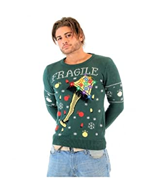 Perfect A Christmas Story Fragile Leg Lamp Light Up Green Ugly Christmas Sweater  (Adult Small)
