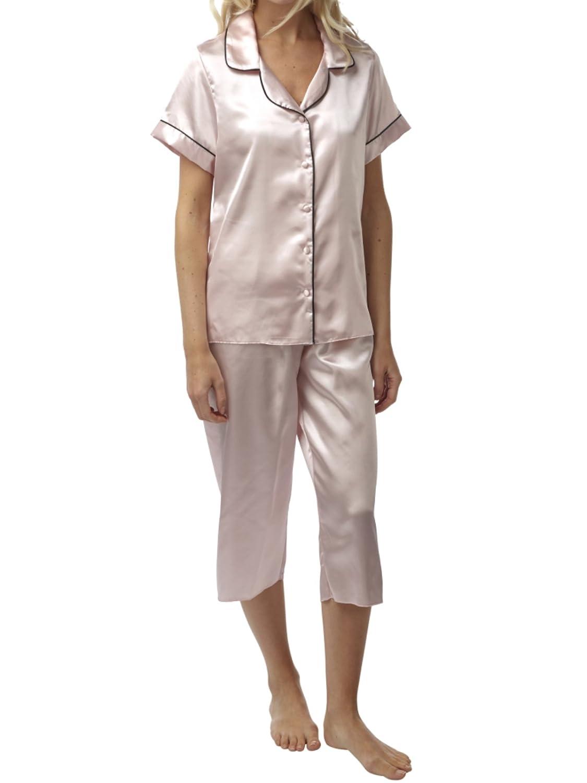Pijamas de pierna de satén BHS de manga corta para mujer: Amazon.es: Ropa y accesorios