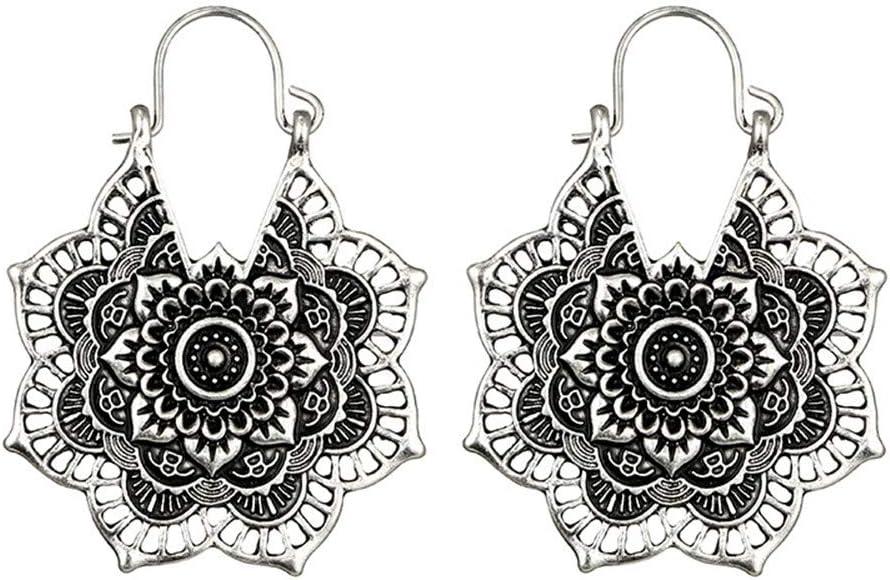 Hunpta @ Argent antique Gypsy indien Tribal ethnique Cr/éoles pendantes Mandala Boho Boucles doreilles 5 Silver
