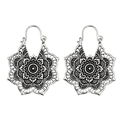 16e7943884 Redvive Top Antique silver Gypsy Indian Tribal Ethnic Hoop Dangle Mandala  Earrings Boho