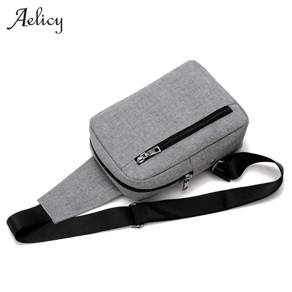 New Mens Chest Bag Messenger Bags Casual Canvas Zipper Solid Cross body Versatile Shoulder