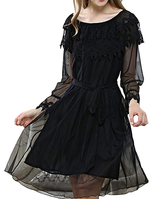 Vintage Inspired Nightgowns, Robes, Pajamas, Baby Dolls Asherbaby Womens Lace Long Sheer Vintage Nightgown Voile Victorian Sleep Dress $25.99 AT vintagedancer.com