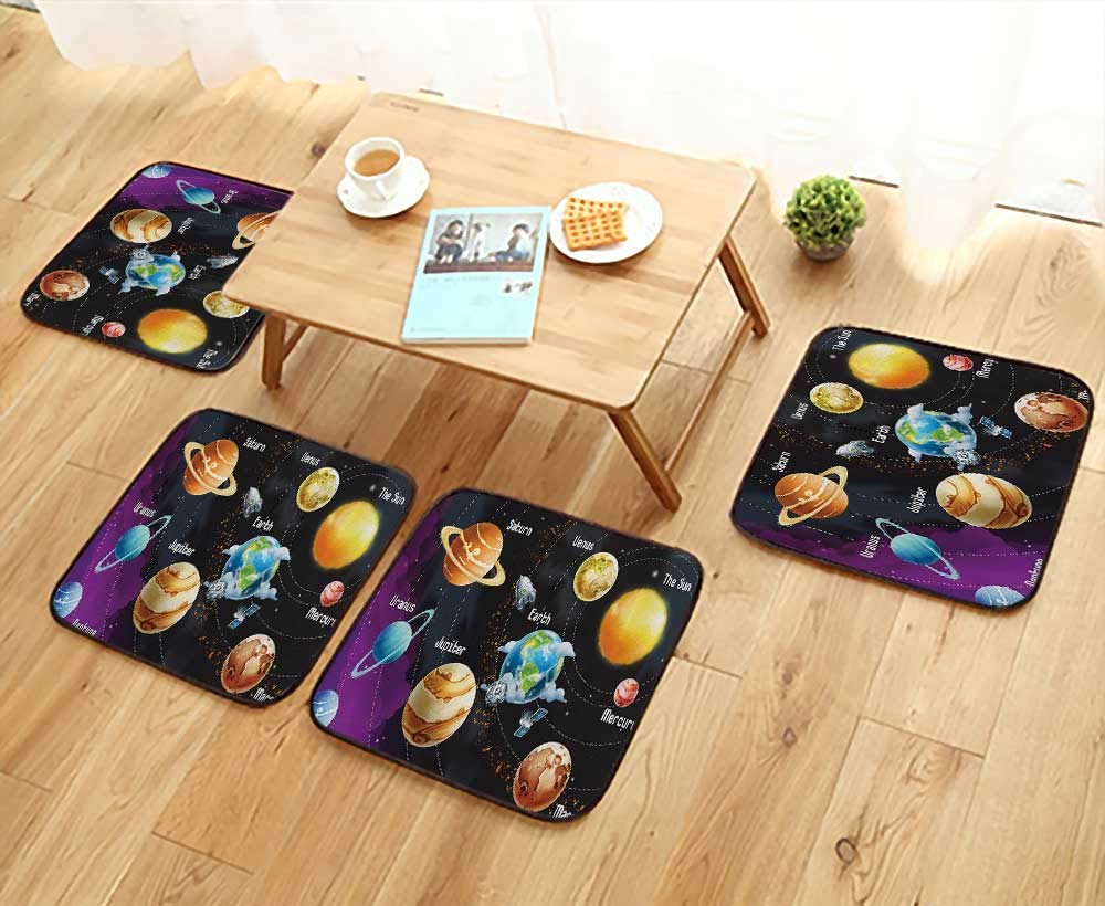 Luxurious Household Cushions Chairs Solar System of Planets Milk Way Neptune Venus Mercury Sphere Horiztal Illus Soft and Comfortable W31.5 x L31.5/4PCS Set