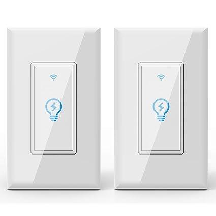 Megadream WiFi inteligente de pared Alexa interruptor de luz, encendido/apagado interruptor de voz