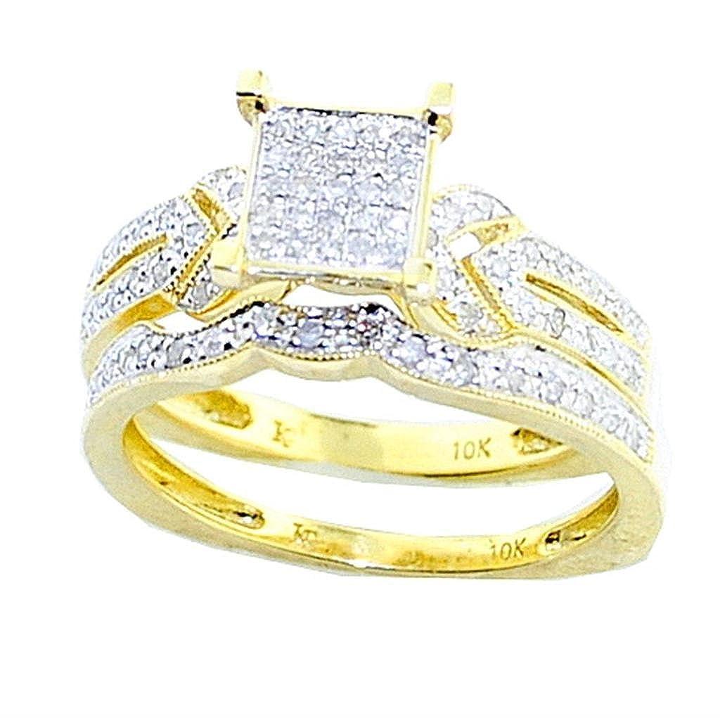rings-midwestjewellery. com Mujer 10 K oro novia Juego de Anillos ...
