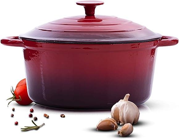 """Roasting Dish 11/"""" Enamel Coated Cast Iron Red Roast"""