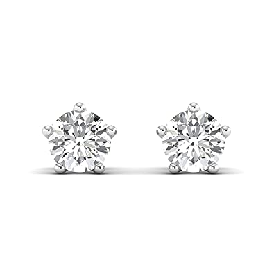 030c55fde Amazon.com: Round Brilliant Cut Moissanite Diamond Studded Earrings Color:-  GH Clarity:- VVS, 0.30 to 4.00 Carat, 14K white-gold: Jewelry