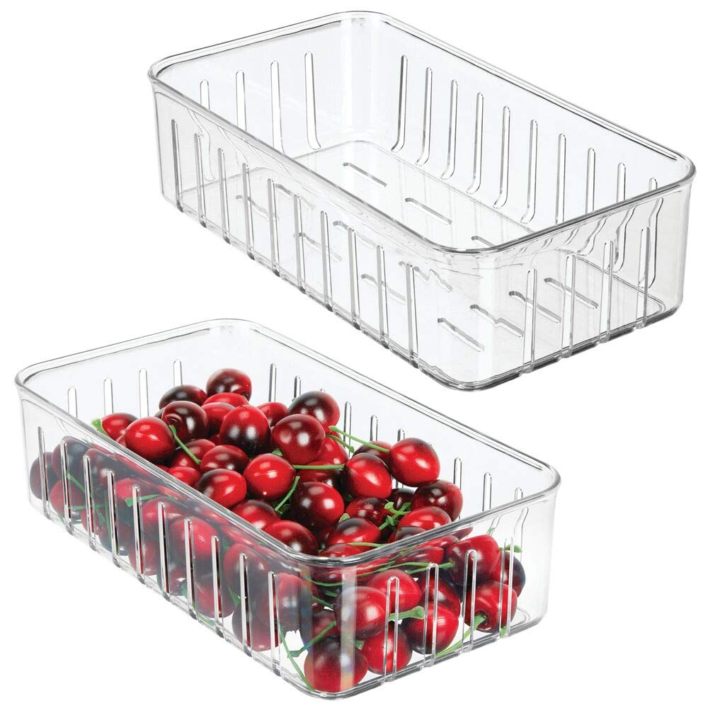 mDesign Plastic Kitchen Refrigerator Produce Storage Organizer Bin with Open Vents for Air Circulation - Food Container for Fruit, Vegetables, Lettuce, Cheese, Fresh Herbs, Snacks - S, 2 Pack - Clear