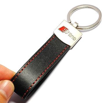ELEGANTE Llavero, Aro de llaves de Cuero DISEÑADOR AUDI SLINE A1, A2, A3, A4, A5, A6, A8