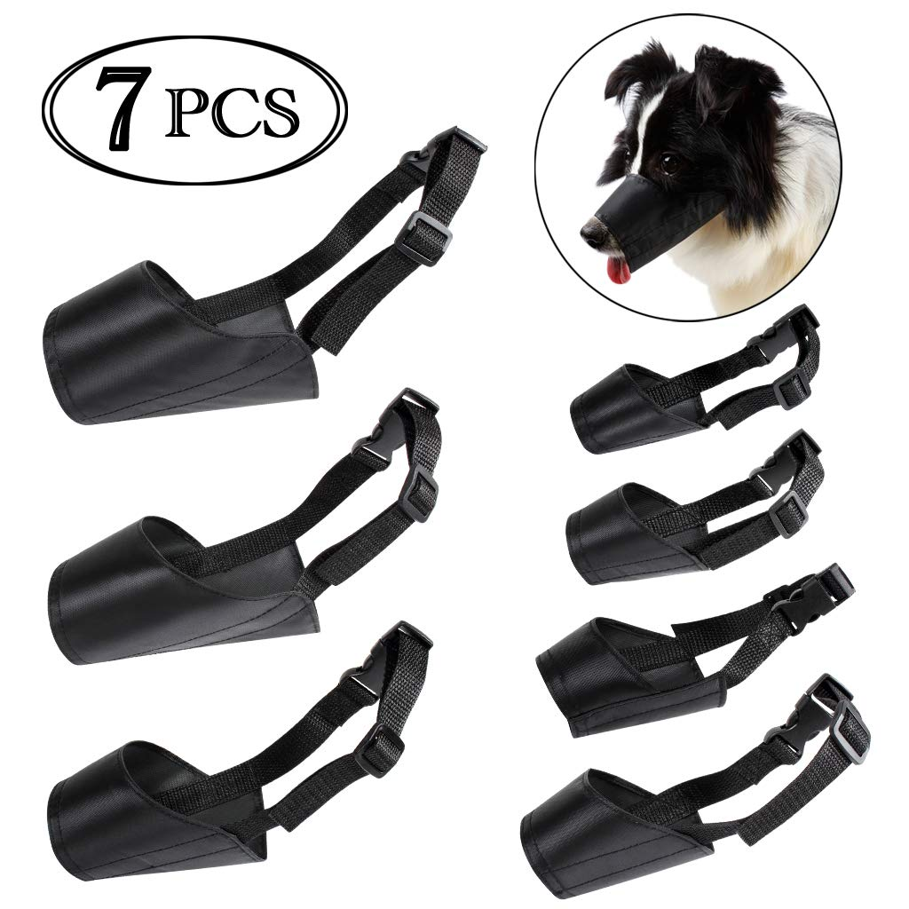 7PCS ewinever Dog Muzzles Suit, Adjustable Breathable Safety Small Medium Large Extra Dog Muzzles for Anti-Biting Anti-Barking Anti-Chewing Safety Predection (7PCS)