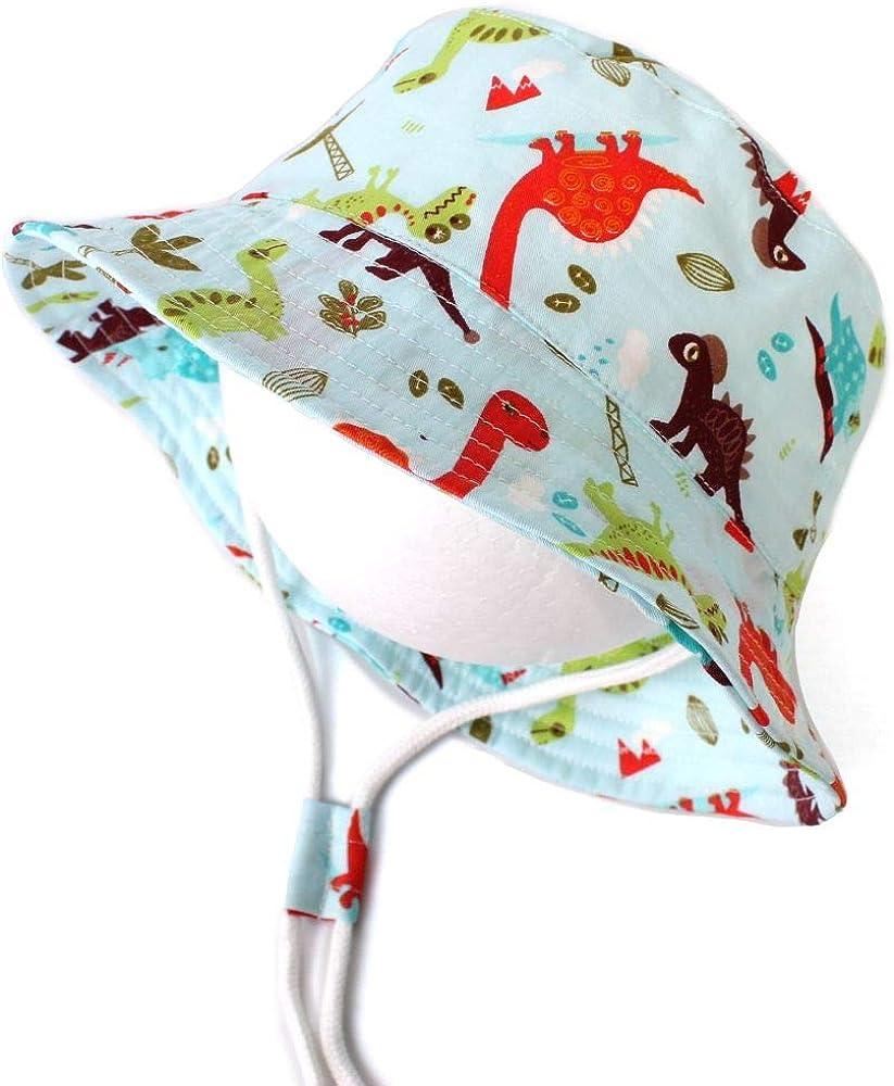 LAPOPNUT Chapeau de Enfant Chapeau de Soleil Anti-UV en Coton B/éb/é Enfant Gar/çon Bob de Plage R/églable /à Corde pour Printemps Et/é