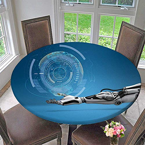 PINAFORE HOME Round Premium Tablecloth Android h Virtual Digital Earth Globe sci fi Technology Design Concept Stain Resistant 55