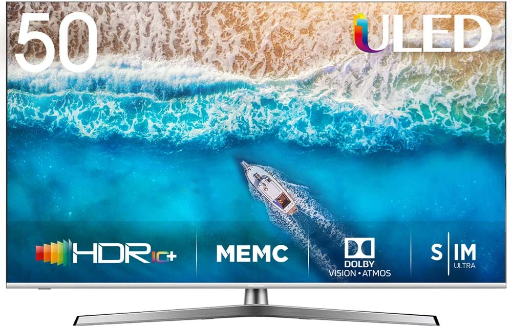 Hisense H50U7BE - Smart TV ULED 50 4K Ultra HD con Alexa Integrada, Bluetooth, Dolby Vision HDR, HDR 10+, Audio Dolby Atmos, Ultra Dimming, Smart TV VIDAA U 3.0 IA, mando con