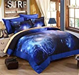 Are There Different Size King Beds 3D Galaxy Duvet Cover Set Imaginative Design Egyptian Cotton Sky Night Blue for Boy Man Queen Size