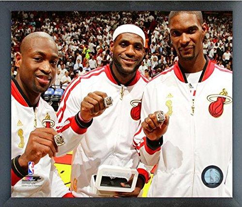 LeBron James, Dwyane Wade, & Chris Bosh Miami Heat 2013 NBA Championship Rings Photo (Size: 12