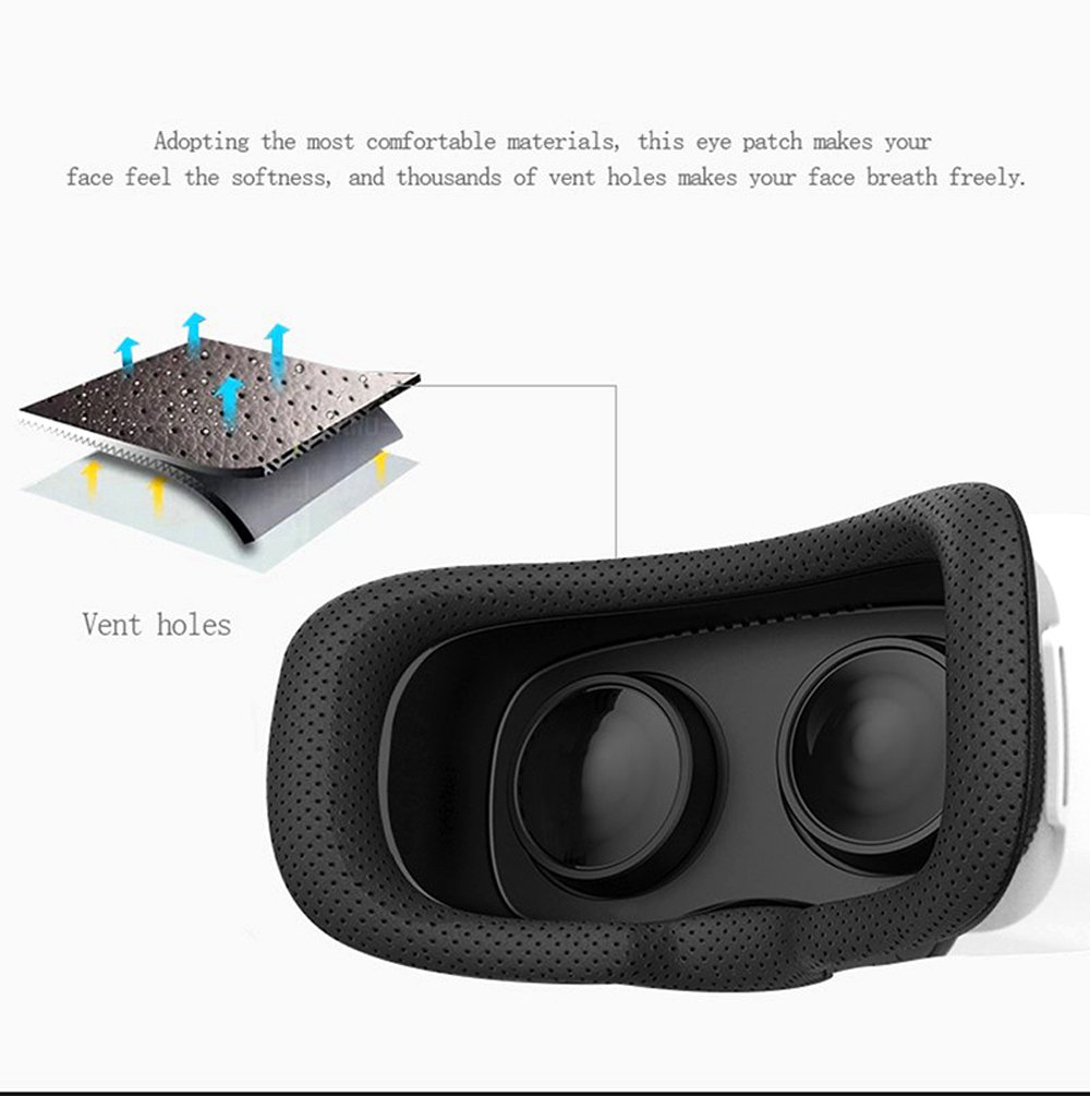 VR Headset, YSSHUI 3D Glasses XiaoCang Virtual Reality Movie Game For IOS Android Microsoft& PC phones Series within 4.7-6.0inches-White