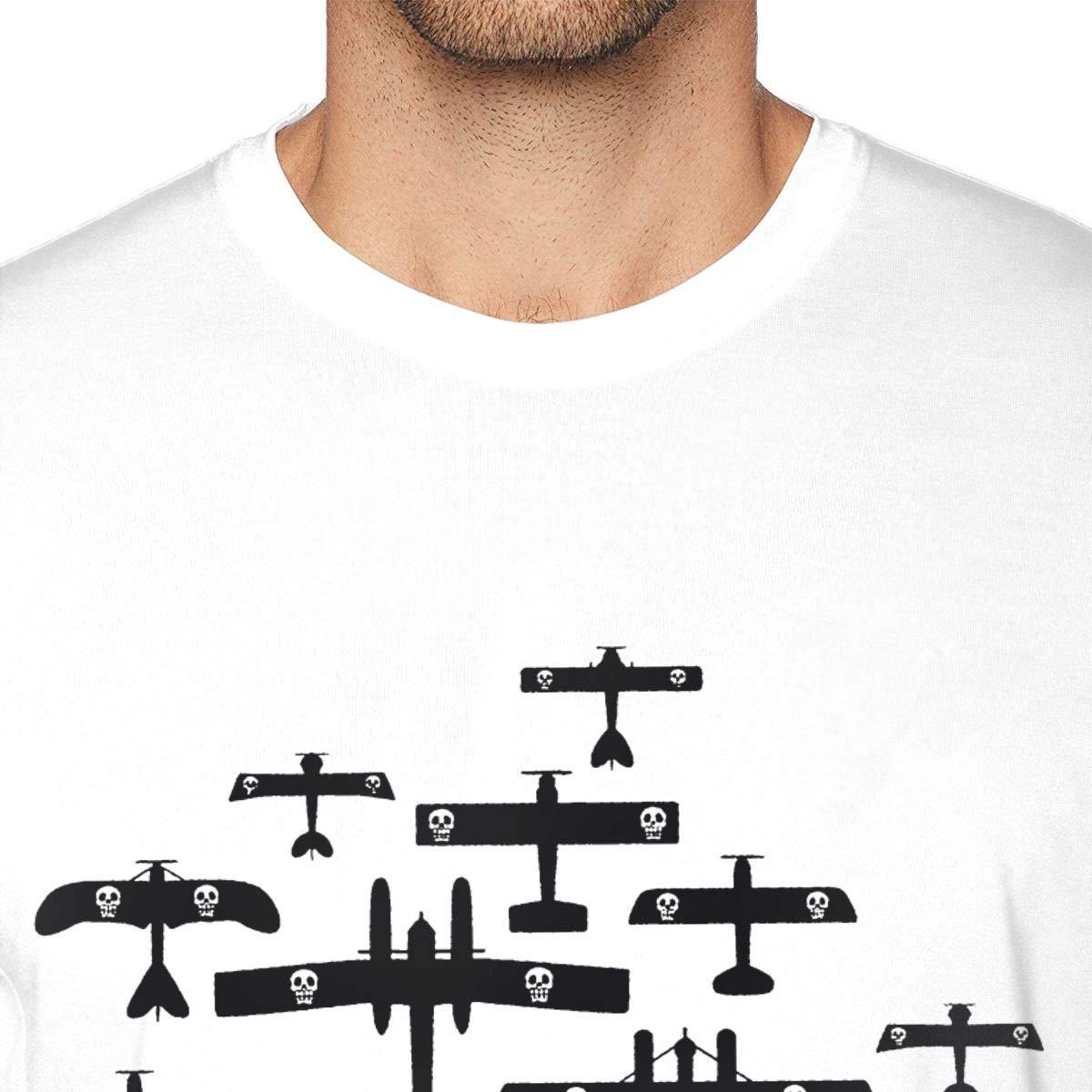 Guangou Mens Cool Porco Rosso Fleet T-Shirts White